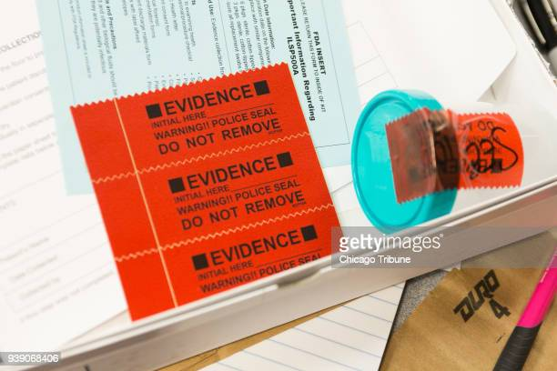 Police seals to protect evidence are shown in a rape kit during Sexual Assault Nurse Examiner training on Friday February 16 2018 at West Suburban...