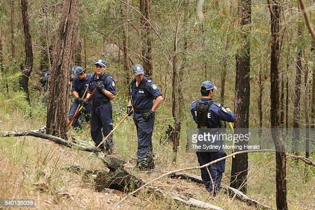 Police search bushland near Colo north of Windsor for any clue to the disappearance of John Lang in 1985 New South Wales 26 October 2006 SMH Picture...