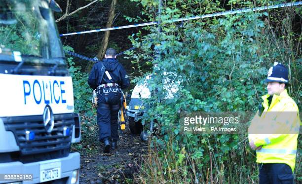 Police search close to the location where body of Rebecca Aylward was found in a wooded area just outside Aberkenfig Bridgend south Wales about 9am...