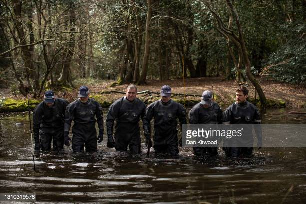 Police search teams search a pond in Epping Forest on April 01, 2021 in Epping, England. Richard Okorogheye, a 19-year-old student at Oxford Brookes...
