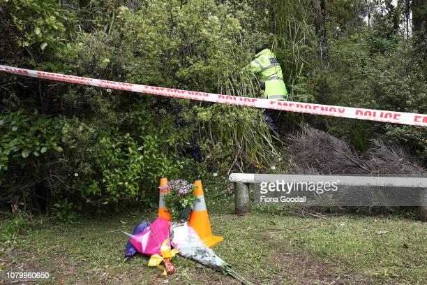 Police search the area around where Grace Millane's body was found on December 10 2018 in Auckland New Zealand The body of 22yearold Grace Millane...