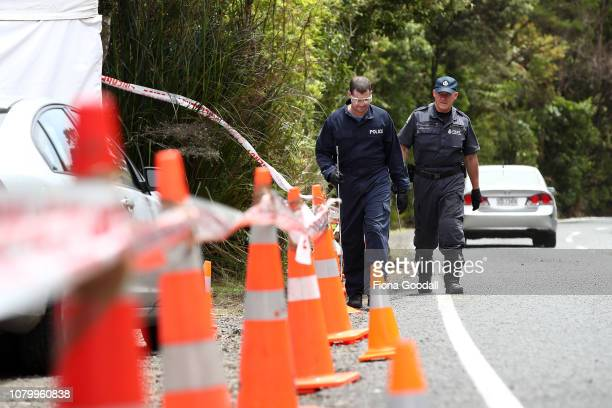 Police search the area where Grace Millane's body was found on December 10 2018 in Auckland New Zealand The body of 22yearold Grace Millane was found...