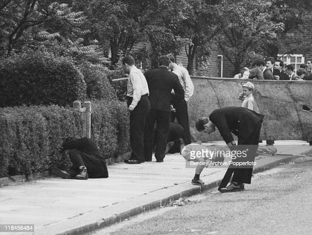 Police search the crime scene in Braybrook Street near Wormwood Scrubs prison London the day after police officers David Wombwell Christopher Head...