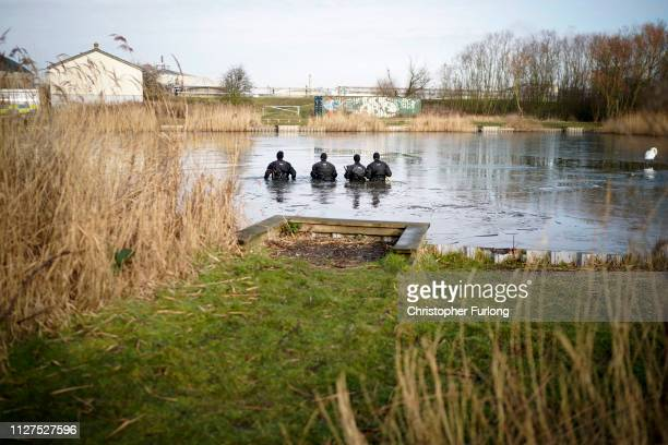 Police search the frozen Oak Road Pond in Hull near to the home of missing 21yearold student Libby Squire on February 05 2019 in Hull England Libby...
