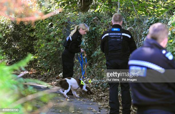 Police search with a dog close to the location where body of Rebecca Aylward was found in a wooded area just outside Aberkenfig Bridgend south Wales...