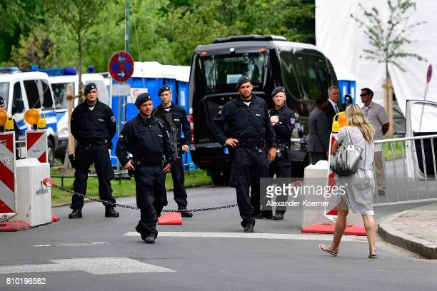 Police secure the area around the accomodation where US President Donald Trump and First Lady Melania Trump will stay during their visit to the G20...