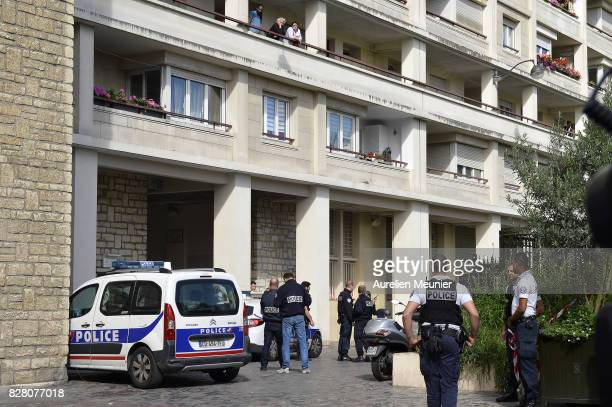 Police secure the area where a group of soldiers were hit by a car on August 9 2017 in Paris France Six soldiers have been injured two seriously...