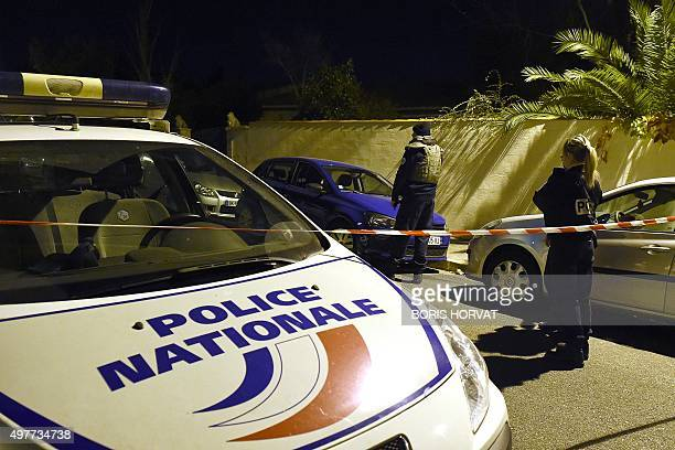 Police secure the near where a man was injured in a stabbing on November 18 2015 in the southern city of Marseille A teacher at a Jewish school in...