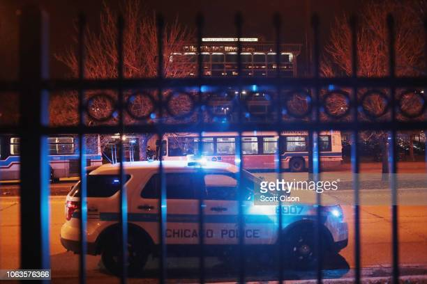 Police secure the scene near Mercy Hospital after a gunman opened fire on November 19 2018 in Chicago Illinois The gunman is reportedly dead after...