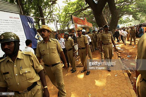 Police secure the site of a low intensity blast at the gate prior to the start of the 2010 DLF Indian Premier League T20 group stage match between...