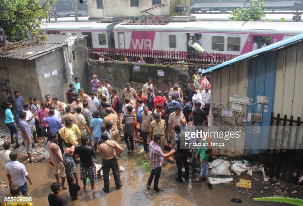 Police security after stampede broke out on the Elphinstone Railway Station bridge in the morning and 22 died and 24 injured shifted to Kem Hospital...