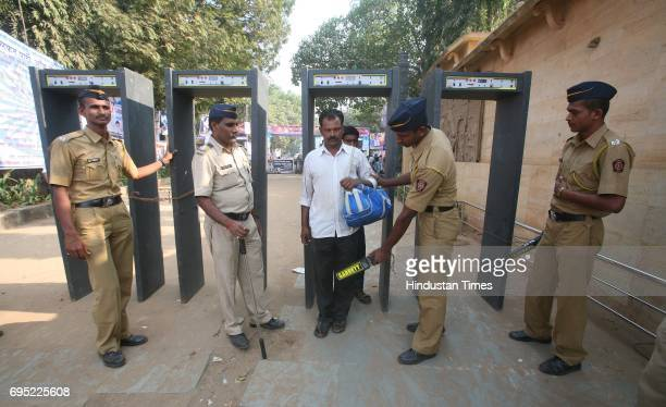 Police security at Shivaji Park near Chaityabhoomi Dadar a day ahead of Dr Babasaheb Ambedkar's 55th Death Anniversary