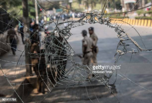 Police security during Dalit protest as they demand arrested of Sambhaji Bhide and Milind Ekbote on January 4 2018 in Mumbai India Bharipa Bahujan...