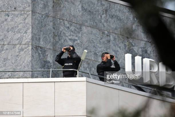 police security during the memorial act for the first anniversary of the tribute for the victims of Barcelona terrorist attack on 17th August in...