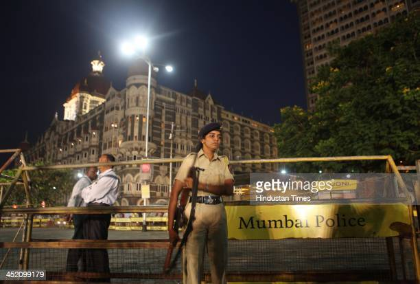 Police security on the fifth anniversary of the 26/11 Mumbai attacks those killed by 10 LashkareTaiba terrorists in the country's financial capital...