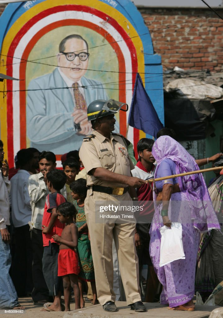 Police security outside Siddharth Nagar, Kurla after Dalit organisations protested against desecration of an Babasaheb Ambedkar statue in Kanpur on Tuesday.
