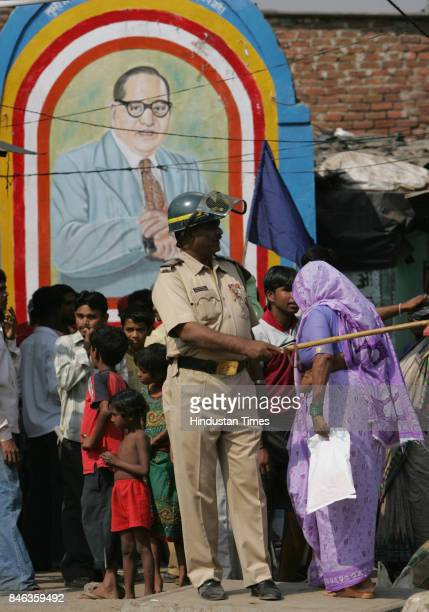 Police security outside Siddharth Nagar Kurla after Dalit organisations protested against desecration of an Babasaheb Ambedkar statue in Kanpur on...