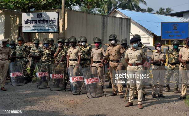 Police security outside the Alibag Police Station after Arnab Goswami's arrest in Alibag on November 4 2020 in Mumbai India Arnab Goswami Republic...