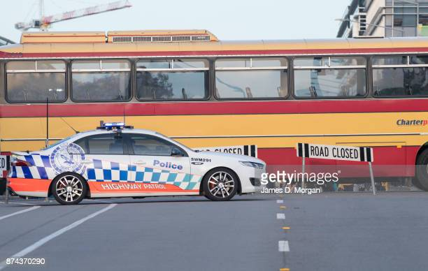 Police security outside the stadium before the game at the 2018 FIFA World Cup Qualifiers Leg 2 match between the Australian Socceroos and Honduras...