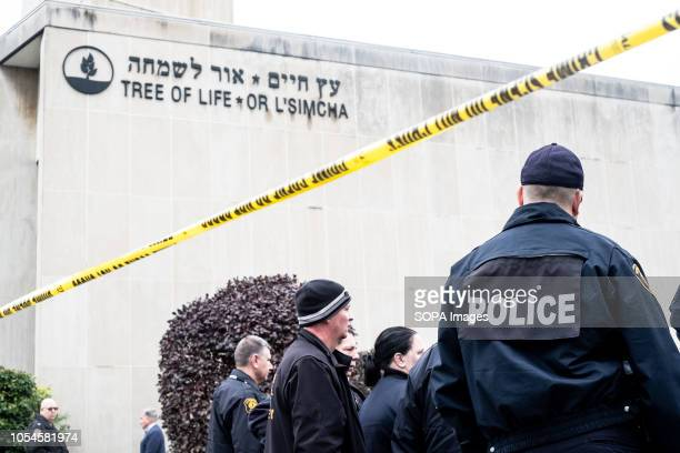 Police seen in front of synagogue Aftermath of the mass shooting at the Tree of Life Synagogue in Squirrel Hill Pittsburgh PA While much tragedy...