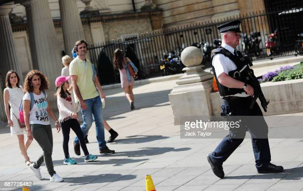 Police seen on duty outside Buckingam Palace on May 24 2017 in London England The UK terror status is elevated to Critical in the wake of the...