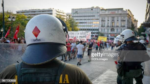Police seen on guard during the antiwar protest on the occasion of the NATO summit in Brussels
