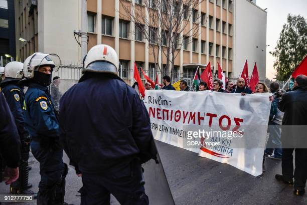 Police seen trying to maintain order as protester gather in Athens against the visit of the Israeli President Reuven Rivlin