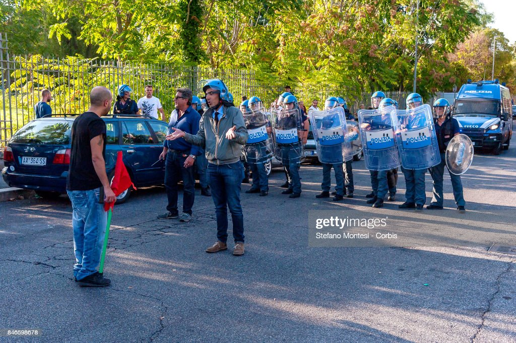 Police send anti-facist protesters away after they clashed with Casapound's extreme right-wing supporters n front of the Fourth Town Hall, where the future of a centre for refugees was discussed on September 13, 2017 in Rome, Italy. Far right movement Casapound are demanding the closure of the centre which is run by the Red Cross in District Tiburtino IV in Rome.