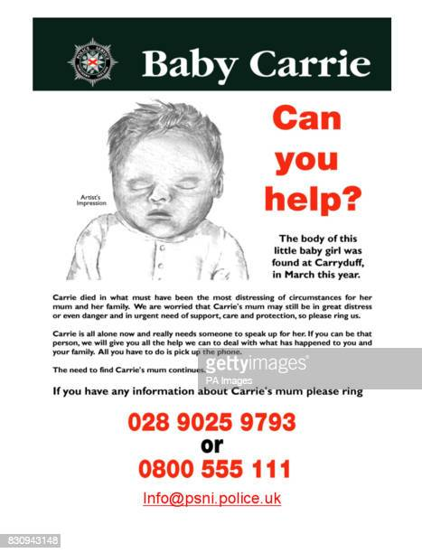 Police Service of Northern Ireland image showing an artist's impression of a new born baby found dead in a Northern Ireland laneway five months ago...