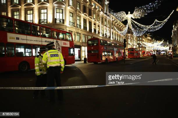 Police set up a cordon on Regent Street and Oxford Circus underground station on November 24 2017 in London England Police earlier responded to...