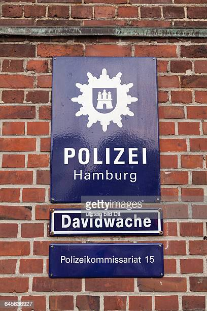 Police sign Davidwache at Reeperbahn in Hamburg