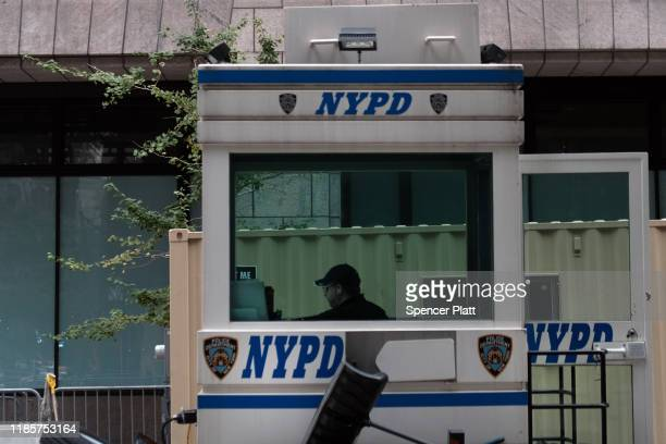 A police sits in a mobile office on November 05 2019 in New York City Following a turbulent threeyear run as Police Commissioner James O'Neill...