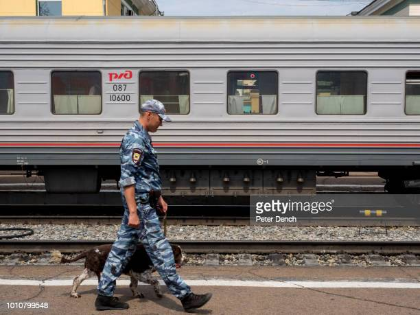 A police sniffer dog patrols a station platform during a stop on the TransSiberian Railway from MoscowVladivostok Spanning a length of 9289km it's...