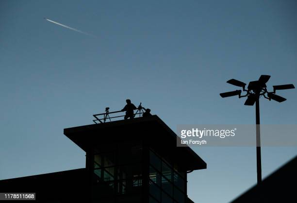Police snipers provide over watch security ahead of Prime Minister Boris Johnson's keynote speech on the final day of the Conservative Party...