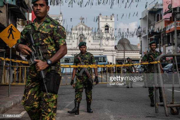 Police Special Task Force officers guard the area near St Anthony's Shrine on April 28 2019 in Colombo Sri Lanka At least 15 people including six...