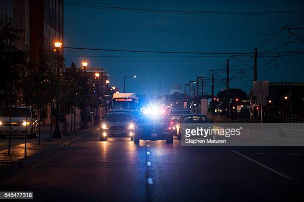 A police squad car blocks traffic as protestors march through the streets of St Paul Minnesota after the death of Philando Castile on July 7 2016...