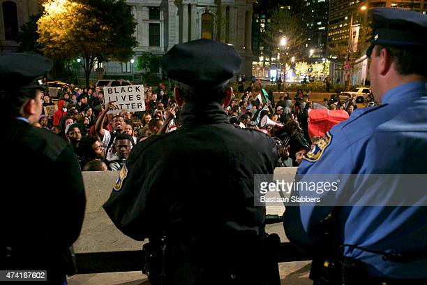 police stand by at blm protest in philadelphia, pennsylvania - philadelphia protest stock pictures, royalty-free photos & images