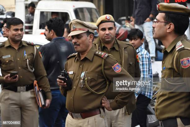 Police stand guard and check all kind of protests on the 25th anniversary of Babri Mosque demolition in New Delhi India on December 06 2017 A 16th...