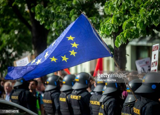 Police stand guard during a meeting of populist farright party leaders in Wenceslas Square on April 25 2019 in Prague Czech Republic The Czech...