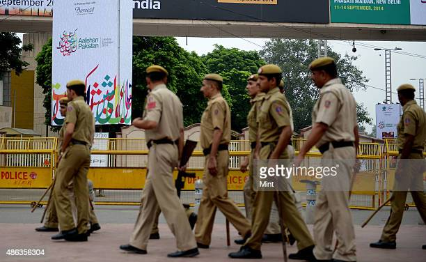 Police stand guard during Aalishan Pakistan exhibition 2014 at Pragati Maidan on September 11 2014 in New Delhi India