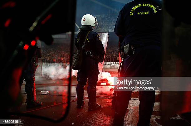 Police stand guard during the Greek Cup Final match between PAOK and Panathinaikos FC at the OAKA Stadium on April 26 2014 in Athens Greece