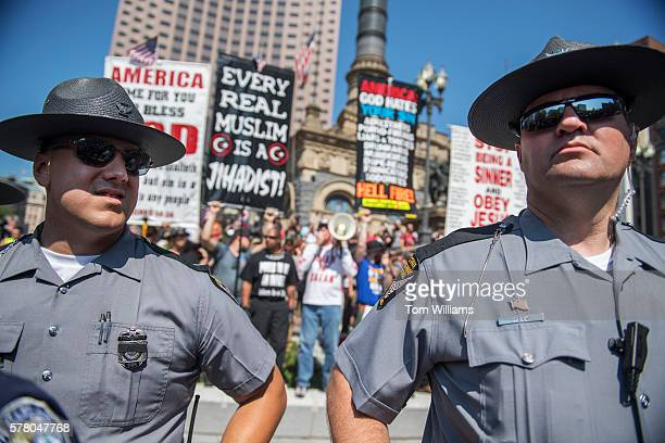Police stand guard in the Public Square near the Republican National Convention at the Quicken Loans Arena in Cleveland Ohio July 19 2016
