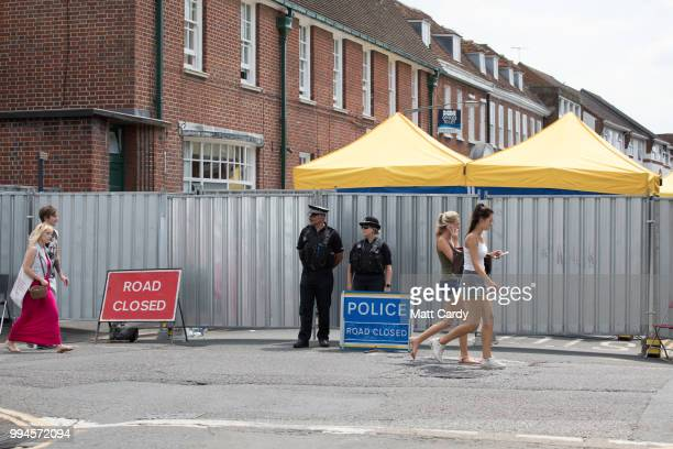 Police stand guard on a cordon outside the John Baker House Sanctuary Supported Living in Salisbury on July 9 2018 in Wiltshire England Police have...