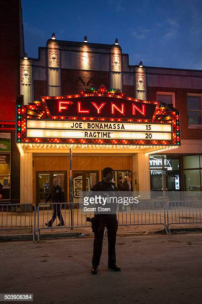 Police stand guard outside of the Flynn Center for the Performing Arts where Republican presidential frontrunner Donald Trump is hosting an event on...