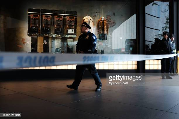 Police stand guard outside of the Time Warner Center after an explosive device was found this morning on October 24 2018 in New York City CNN's...