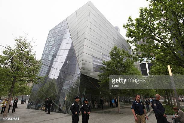 Police stand in front of the National September 11 Memorial Museum during the dedication ceremony at ground zero May 15 2014 in New York City The...