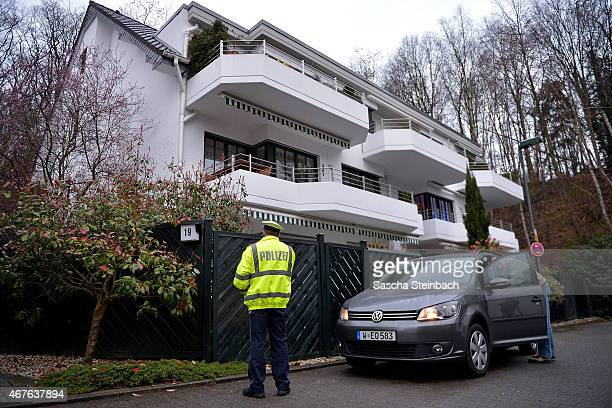 Police stand in front of the residence of Andreas Lubitz, the co-pilot on Germanwings flight 4U9525, on March 26, 2015 in Duesseldorf, Germany....