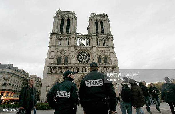 Police stand in guard in front of Notre Dame Cathedral on October 18 2010 in Paris France France has been warned by Saudi Arabia that it is a...