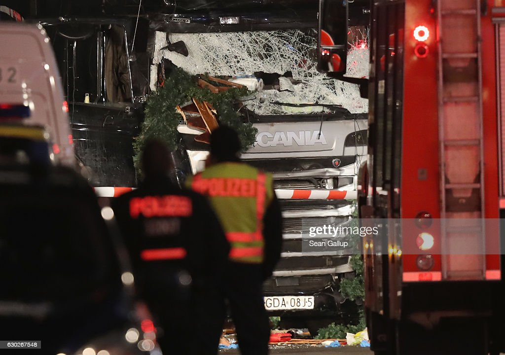 Lorry Drives Through Christmas Market In Berlin : News Photo
