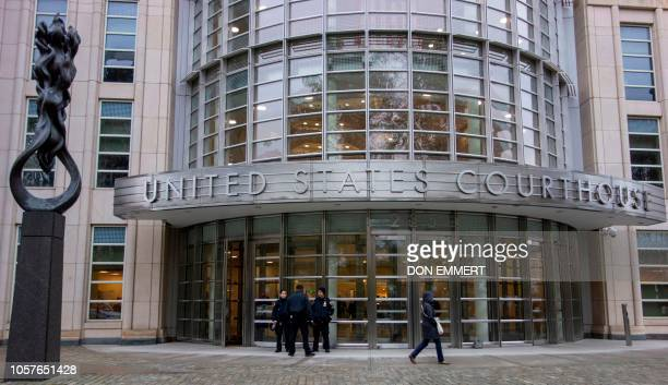 Police stand on duty for the start of jury selection for the El Chapo trial November 5 2018 at Brooklyn Federal Court in New York Joaquin El Chapo...